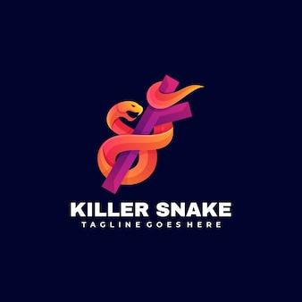 Logo ilustracja killer snake gradient kolorowy styl.
