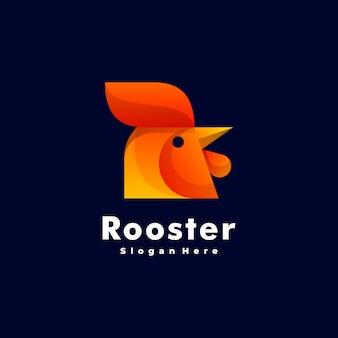 Logo ilustracja kogut gradient kolorowy styl.