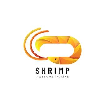 Logo ilustracja krewetki gradientu kolorowy styl.