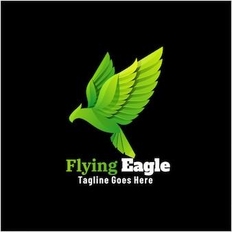 Logo ilustracja latający orzeł gradientu kolorowy styl.