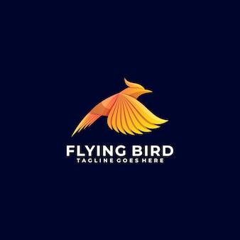 Logo ilustracja latający ptak gradient kolorowy styl.