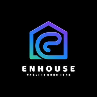 Logo ilustracja list e dom gradient kolorowy styl.