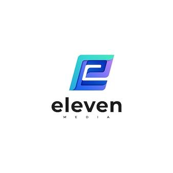 Logo ilustracja list gradientu kolorowy styl.