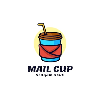 Logo ilustracja mail cup prosty styl maskotki