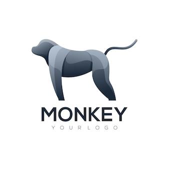 Logo ilustracja małpa elegancka prosta