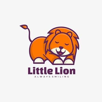 Logo ilustracja mały lew prosty styl maskotka.