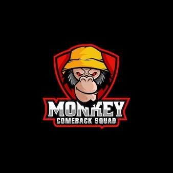 Logo ilustracja monkey e sport i styl sportowy