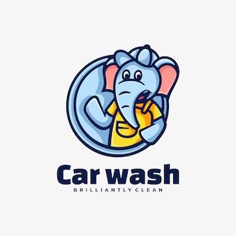 Logo ilustracja myjnia samochodowa prosty styl maskotki.