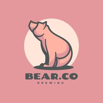 Logo ilustracja niedźwiedź prosty styl maskotki.