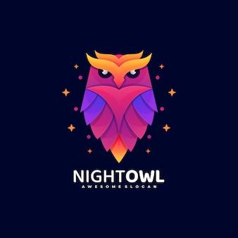 Logo ilustracja noc sowa gradientu kolorowy styl.