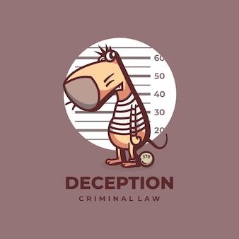 Logo ilustracja oszustwa mysz prosty styl maskotki.