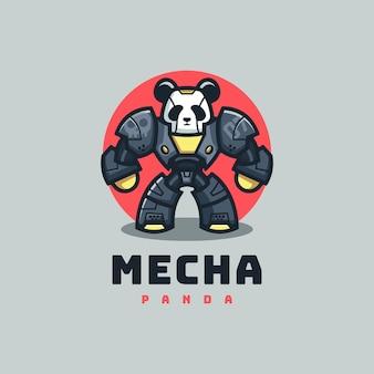 Logo ilustracja panda prosty styl maskotki.