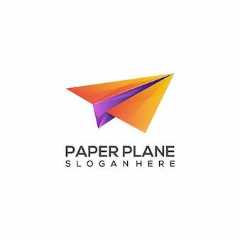 Logo ilustracja papierowy samolot kolorowy gradient