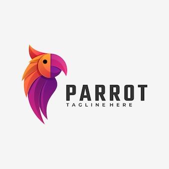 Logo ilustracja papuga gradient kolorowy styl.