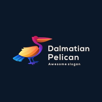Logo ilustracja pelikan elegancki gradient kolorowy