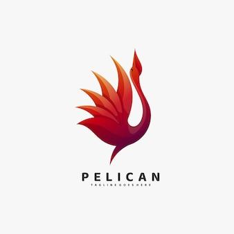 Logo ilustracja pelikan gradient kolorowy styl.