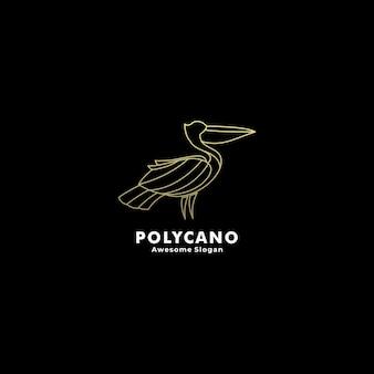 Logo ilustracja pelikan gradient styl linii graficznej.