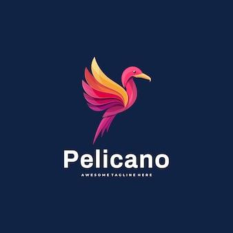 Logo ilustracja pelikan kolorowy styl.