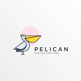Logo ilustracja pelikan prosta maskotka stylu cartoon