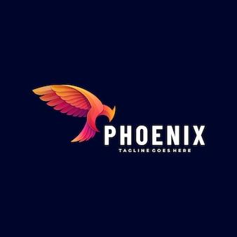Logo ilustracja phoenix gradient kolorowy styl.