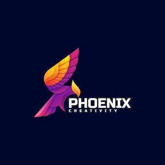 Logo ilustracja phoenix kolorowy styl gradientu.