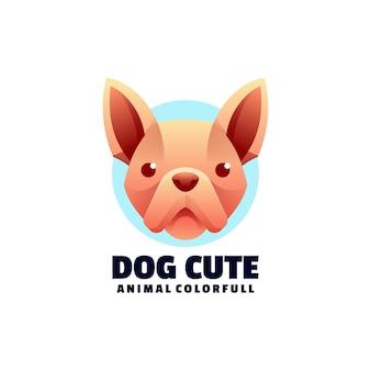 Logo ilustracja pies ładny kolorowy styl gradientu.