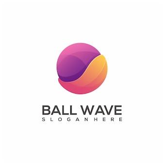 Logo ilustracja piłka fala kolorowy gradient