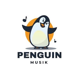 Logo ilustracja pingwin maskotka stylu cartoon.