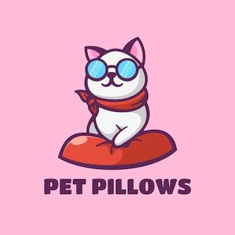 Logo ilustracja poduszki dla zwierząt domowych prosty styl maskotki.