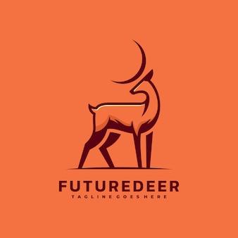 Logo ilustracja przyszłość jelenia prosty styl maskotki