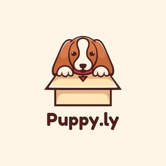 Logo ilustracja puppy prosty styl maskotki.