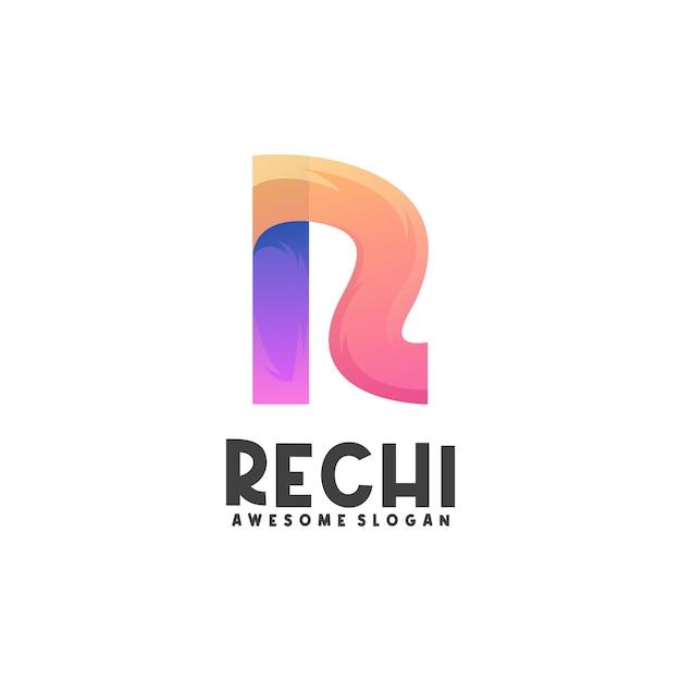 Logo ilustracja r list gradientu kolorowe