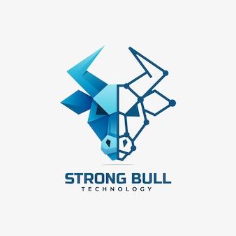 Logo ilustracja silny bull gradientu kolorowy styl.