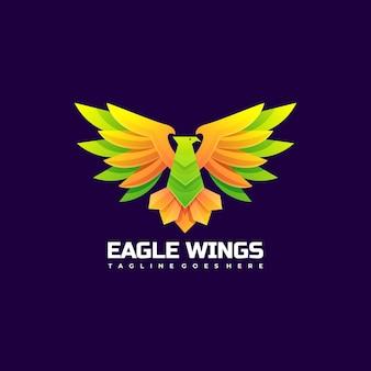 Logo ilustracja skrzydła orła gradientu kolorowy styl.
