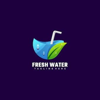 Logo ilustracja słodka woda kolorowy styl gradientu.