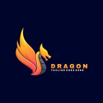 Logo ilustracja smok gradient kolorowy styl.
