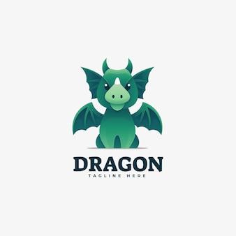 Logo ilustracja smok gradientu kolorowy styl.