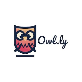 Logo ilustracja sowa gradientu kolorowy styl szablon
