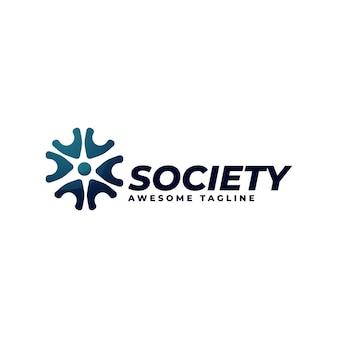 Logo ilustracja społeczeństwo gradient kolorowy styl