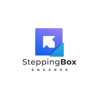 Logo ilustracja stepping box gradient kolorowy styl.