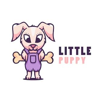 Logo ilustracja styl cartoon little puppy maskotka.