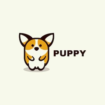 Logo ilustracja szczeniak prosty styl maskotka szablon