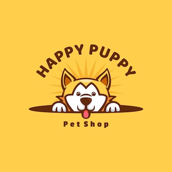 Logo ilustracja szczęśliwy puppy śliczny styl kreskówki.