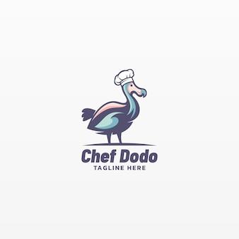 Logo ilustracja szef kuchni dodo prosty styl maskotki.