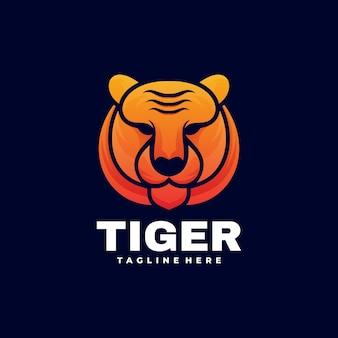 Logo ilustracja tiger gradient kolorowy styl.