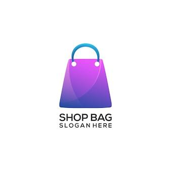 Logo ilustracja torba sklepowa rynku kolorowy gradient