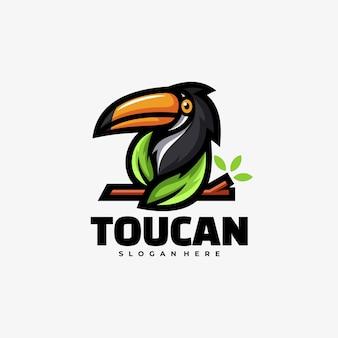 Logo ilustracja tukan prosty styl maskotka.