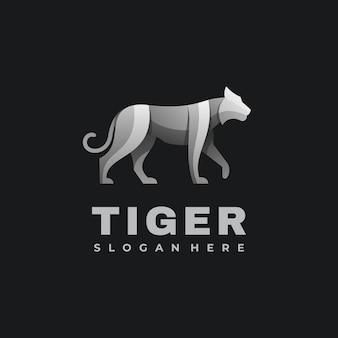 Logo ilustracja tygrys gradient kolorowy styl.