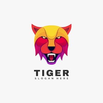 Logo ilustracja tygrys kolorowy styl.
