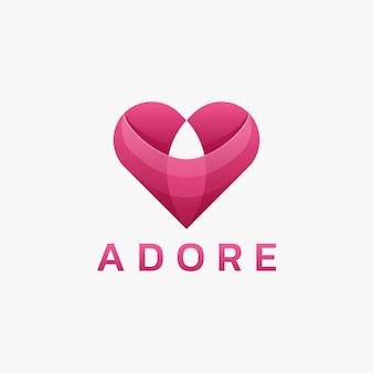 Logo ilustracja uwielbia gradientowy kolorowy styl.